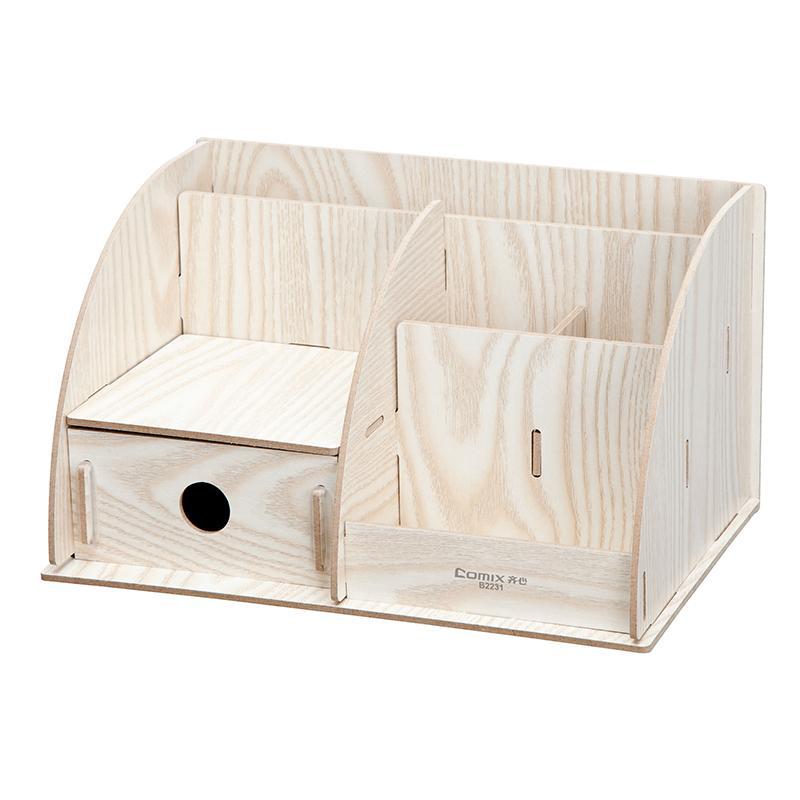 齐心木质文件架 diy组合收纳盒桌面笔筒小物品 整理箱