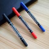 得力6824小双头记号笔细头黑色油性笔光盘勾线笔马克笔物流标记笔